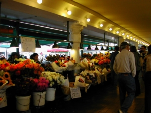 Beautiful Flowers in the Market Place